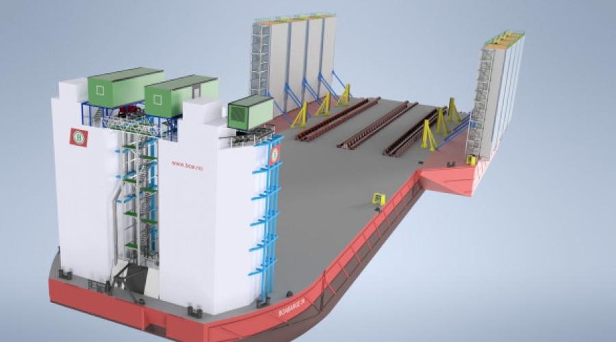 Slik skal lekteren Boabarge 33 sjå ut når den er ferdig. Levering er planlagt i februar 2020. Illustrasjon: Boa Barges