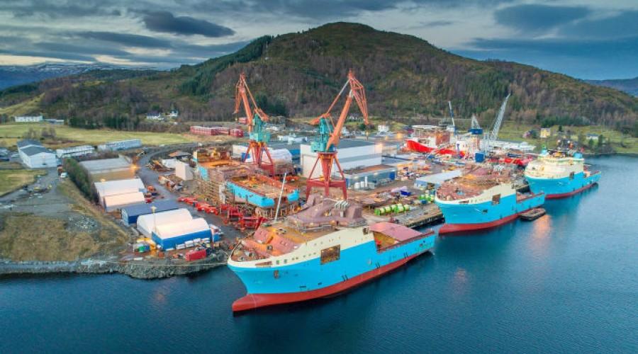 Det nye fartøyet skal byggjast ved Kleven Verft i Ulsteinvik. Foto: Kleven Verft