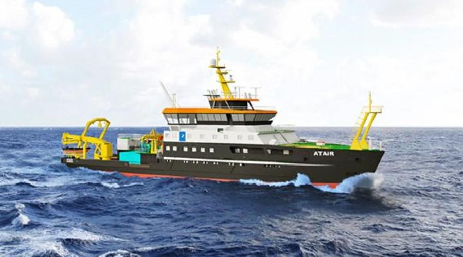 Atair II skal bygges på Fassmer Werft, og blir Tysklands største forskningsfartøy. Illustrasjon: Fassmer