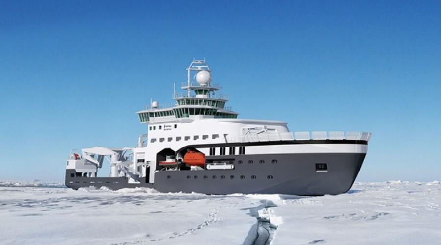 Illustrasjonen viser hvordan man tenke seg Kronprins Haakon i arbeid i isen. Skipet er bygget av Fincantieri i Italia, basert på design fra Rolls-Royce. Illustrasjon: Rolls-Royce Marine