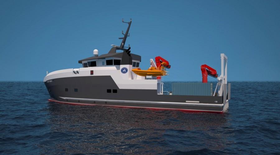 Foreløpig designtegning av det nye kystforskningsfartøyet. Illustrasjon LMG Marine