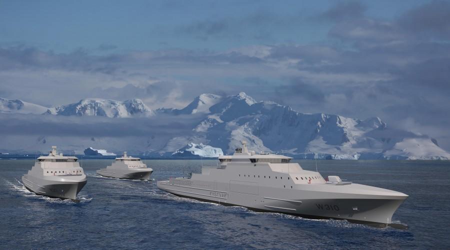 Vard Langsten har arbeid i seks år framover med bygging av de nye kystvaktskipene. Arbeid med detaljdesign starter umiddelbart, og siste skip skal leveres i starten av 2024. Illustrasjon: Vard