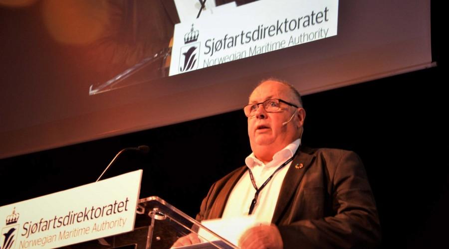 Konstituert sjøfartsdirektør Lars Alvestad opnar den årvisse sjøtryggleikskonferansen i Haugesund. Foto: Thomas Førde