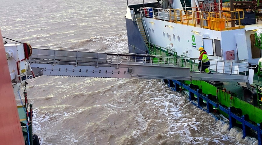 The gangway will provide safe and efficient crew transfer from an MMA Offshore vessel to a barge operating in the NW Australia.Photo: Undertun.