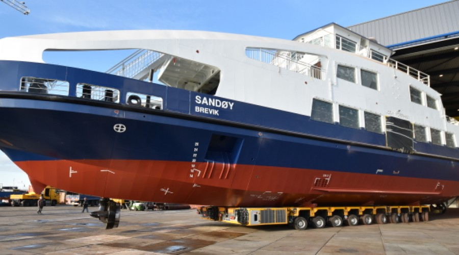 """""""Sandøy"""" is the first fully electric ferry for the Norwegian operator Brevik Fergeselskap and is equipped with two Schottel RudderPropellers. Photo: Schottel."""