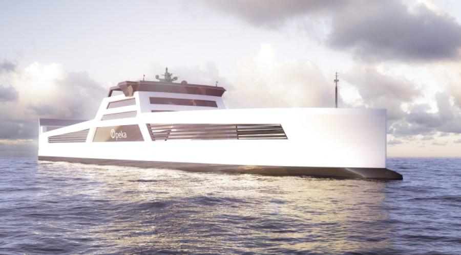 De to planlagte skipene blir blant de første hydrogendrevne lasteskipene i verden. Illustrasjon: Enova/Wilhelmsen.