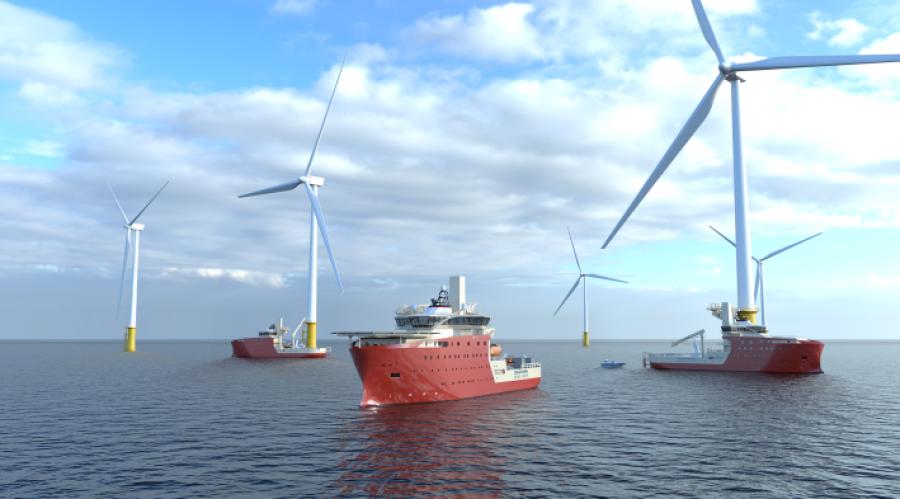 Vard har inngått kontrakter på design og bygging av tre havvind servicefartøy som skal operere for Dogger Bank Wind Farm i Nordsjøen. Illustrasjon: Vard.