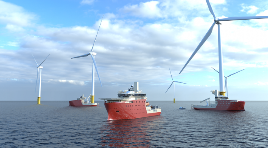 Vard has secured contracts for the design and construction of three Service Operation Vessels (SOVs) to  operate on the Dogger Bank Wind Farm in the North Sea. Illustration: Vard.