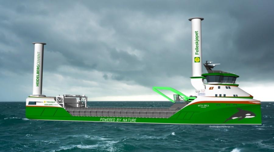 Slik blir det nye bulkskipet som skal drives av hydrogen og rotorseil. Illustrasjon: Norwegian Ship Design