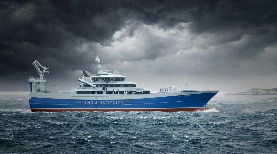 Liegruppen og Salt Ship Design fikk Innovasjonsprisen under årets Nor-Fishing, for den innovative fiskebåten Libas. Illustrasjon: Salt Ship Design
