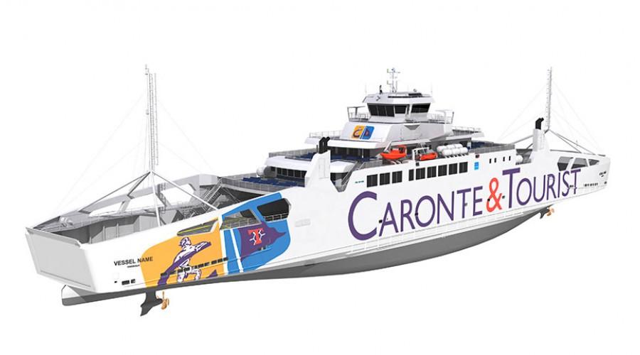 LMG Marin AS har designet ny LNG-ferje som skal gå over Messinastredet i Middelhavet. Illustrasjon: LMG Marin