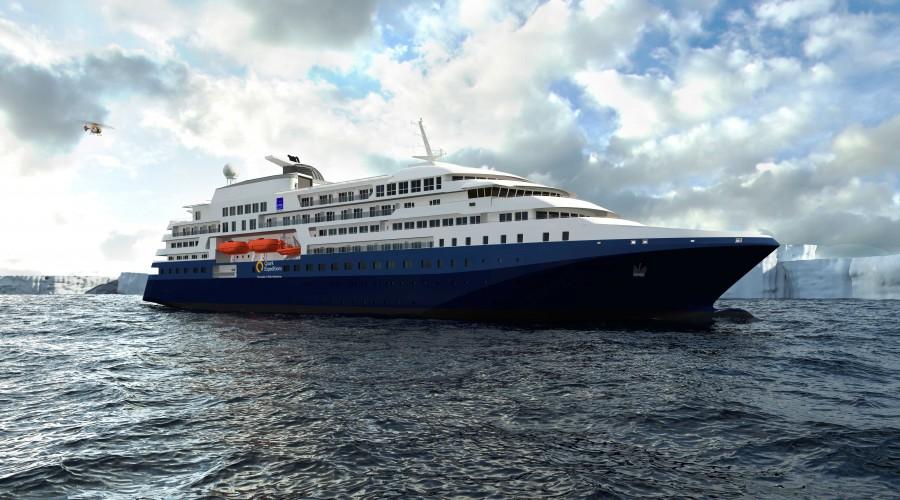LMG Marin fra Bergen har fått kontrakt på design av sitt første polare ekspedisjonsskip. Illustrasjon: LMG Marin