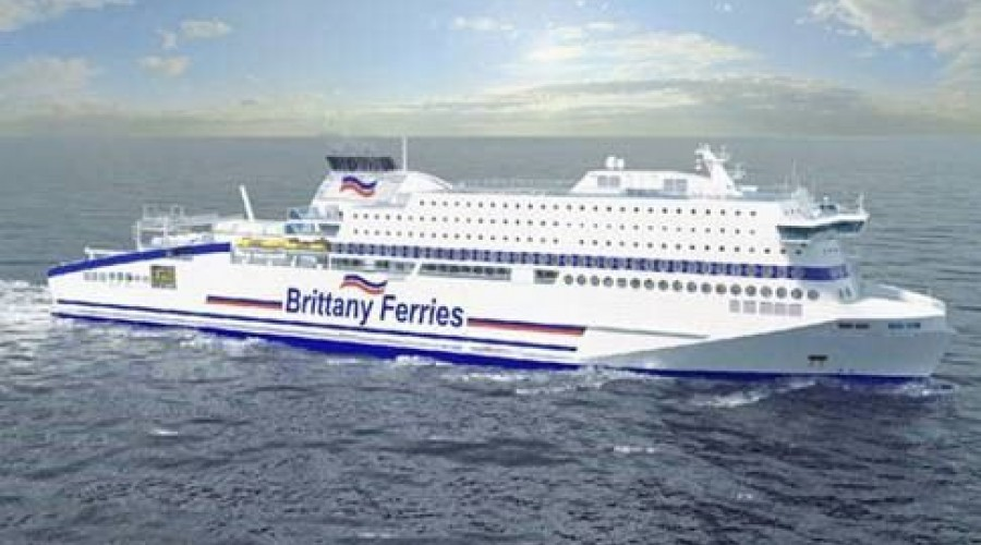 LNG-ferjen Honfleur får EPCI-leveranse fra Kongsberg Maritime. Illustrasjon: Flensburger Schiffbau-Gesellschaft