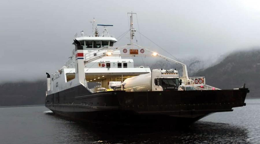 MF Lote. skal benyttes i sambandet Skarberget-Bognes over Tysfjorden i Nordland fylke. Foto: Fjord1.