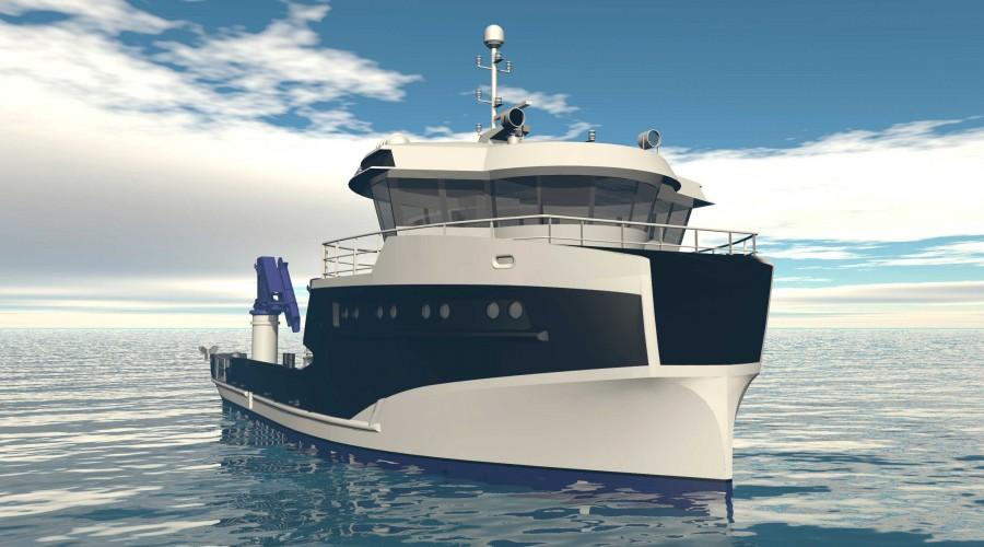Møre Maritime står bak designet av Frøy Akvaressurs sin nye servicebåt, som skal bygges av Sletta Verft. Illustrasjon: Møre Maritime