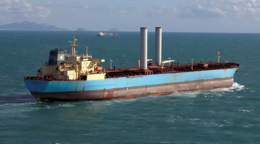Maersk Pelican had Roto Sails installed in 2018. Now Norsepower have announced its first newbuild order. Photo: Norsepower.