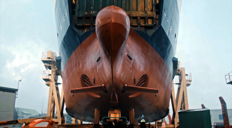 Retractable bow foils give reduced fuel consumption in waves, and in addition increased comfort. Photo: Wavefoil.