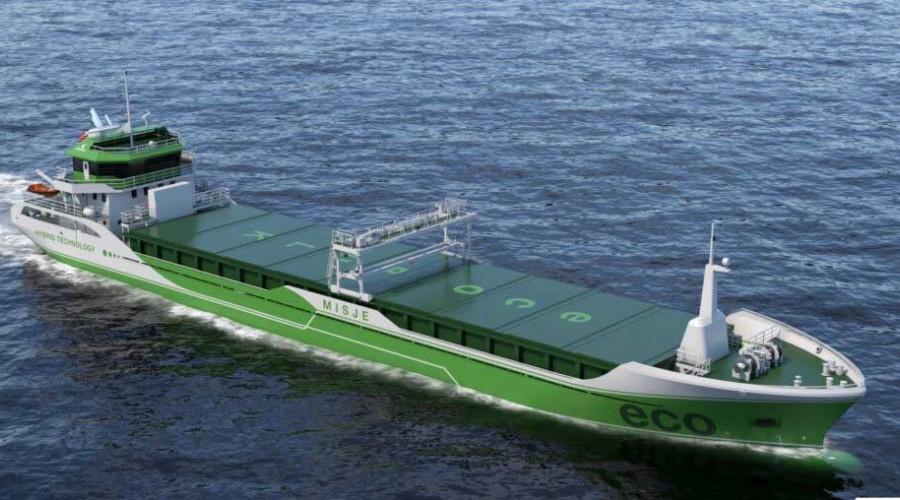 Slik blir bulkskipene som Kåre Misje & Co etter planen skal bygge på Sri Lanka og som er designet av Wärtsilä på Stord. Illustrasjon: Wärtsilä