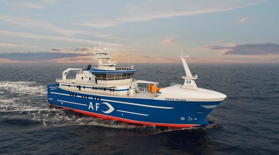 Marin Teknikk designer ny linebåt til Frøyanes AS. Fartøyet blir bygg nummer 100 fra Tersan Shipyard. Ill: Marin Teknikk