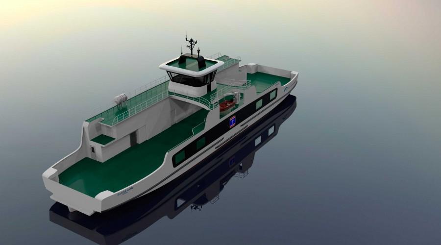 Slik blir den nye batteriferja som skal trafikkere mellom Svelvik og Verket. Illustrasjon Norwegian Ship Design/Bastø Fosen