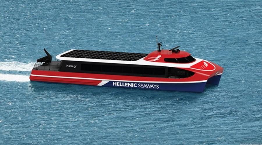 Brødrene Aa vil bygge totalt tre Aero-designet fartøy for Attica Group. Illustrasjon: Br. Aa.