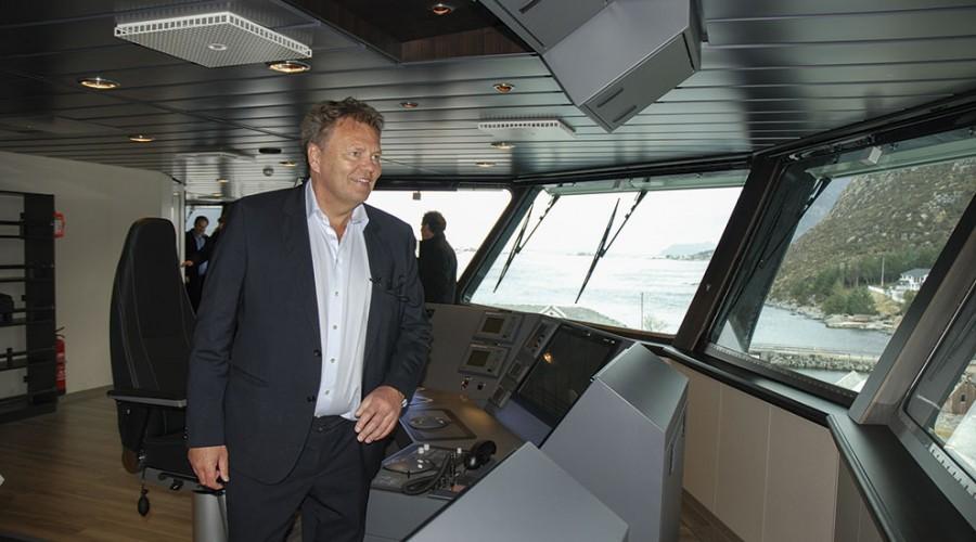 Stig Remøy om bord i Olympic Bibby. Foto: Runar Andersen