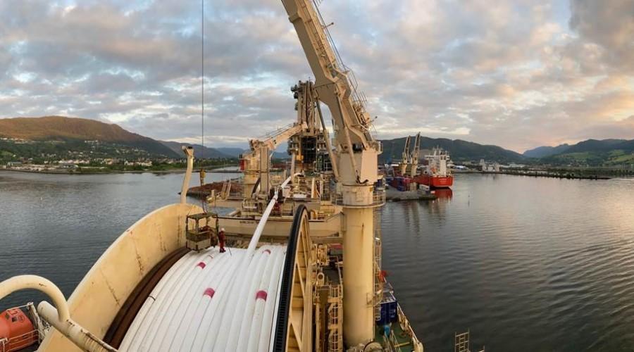 Rørleggingsfartøyet Deep Energy har gjort en rask og god jobb med installereing av produksjons- og gassløftsrørledningene for Duva & Gjøa P1-utbyggingene i Nordsjøen. Foto: Neptun Energy.