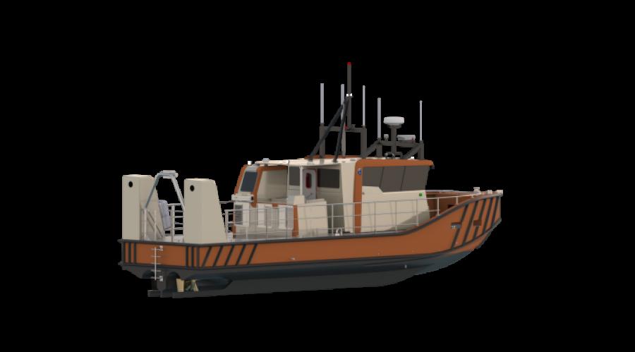 Det danske Kystirektoratet har bestilt nytt oppmålingsskip. Illustrasjon: ProZero.