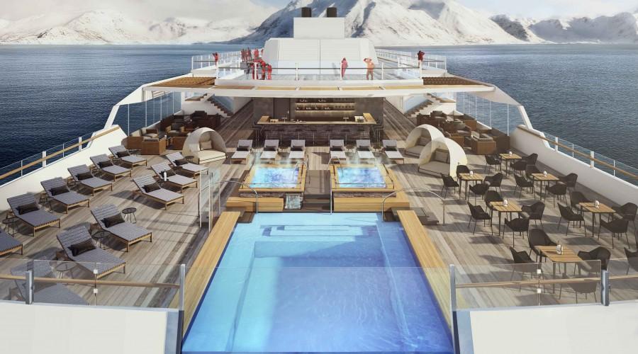 """Roald Amundsen og Fridtjof Nansen får store utendørs observasjonsdekk, blant annet med """"evighetsbasseng"""". Illustrasjon: Hurtigruten"""