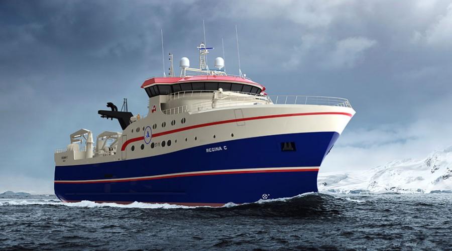 Ny tråler til Grønland med design ST-118. Illustrasjon: Skipsteknisk.