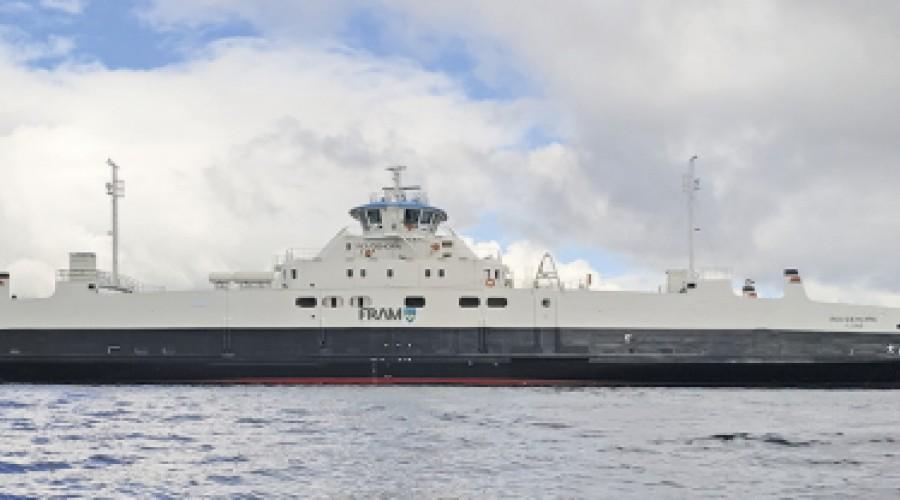 Rovdehorn er en av de i alt 13 ferjer Havyard bygger for Fjord1 som allerede er overlevet, og nå er fullføring av de fem siste i serien også. Foto: Havyard.
