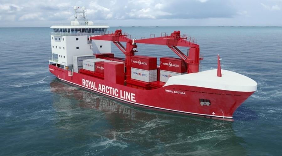 Slik blir de nye skipene som skal trafikkere Nordvest-Grønland og som er designet av Havyard. Illustrasjon: Royal Arctic Line