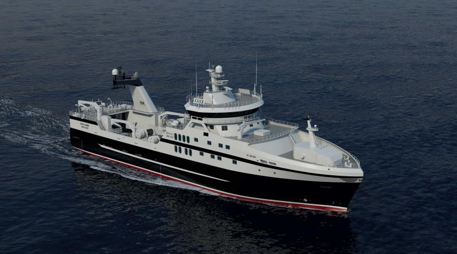 Rederiet Prestfjord AS skal bygge nye tråler med design og utstyr fra Rolls-Royce. Spanske Gondan skal bygge båten. Illustrasjon: Rolls-Royce