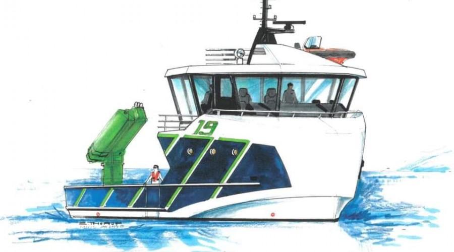 Slik skisserer Møre Maritime at den nye bløggebåten som skal bygges hos Salthammer blir. Illustrasjon: Møre Maritime