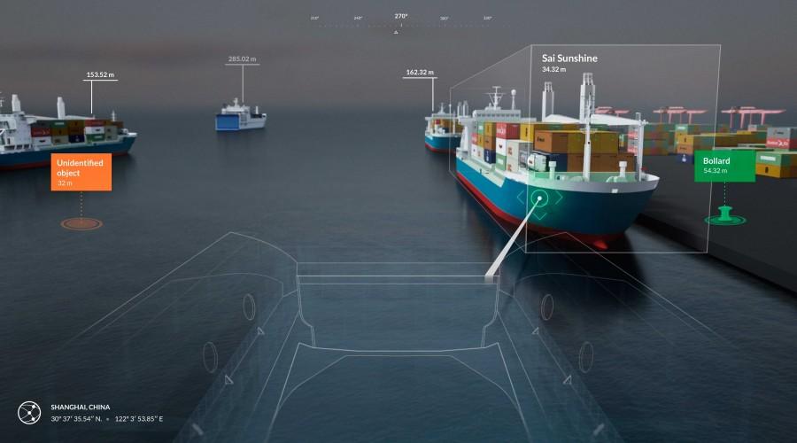 Full oversikt i havnen. Illustrasjon av hvordan ny løsninger for situational awareness vil bidra til bedre kontroll for skip. Illustrasjon: Rolls-Royce