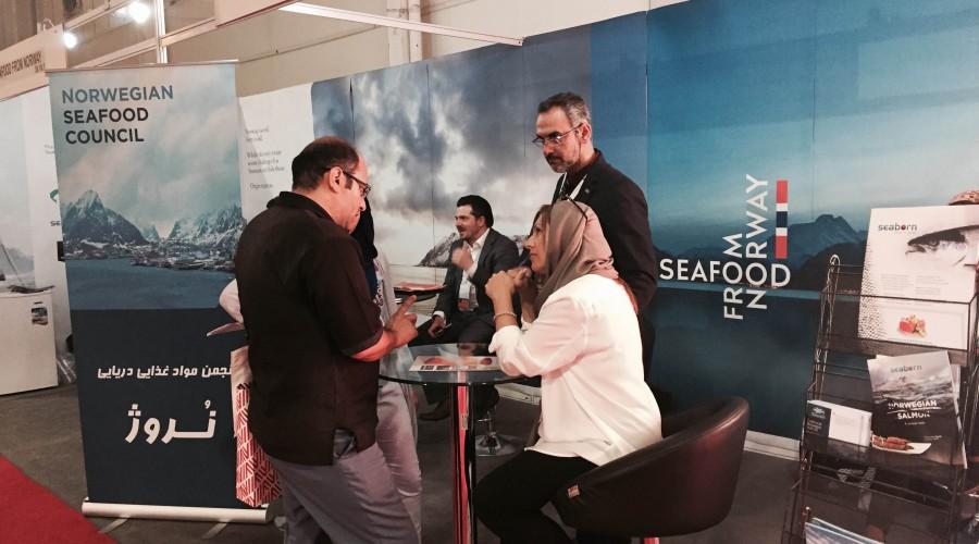 Sjømatrådet og seks norske sjømataktører er denne uken på Iran Food + Hospitality Expo-messen i Teheran. Foto: Norges Sjømatråd