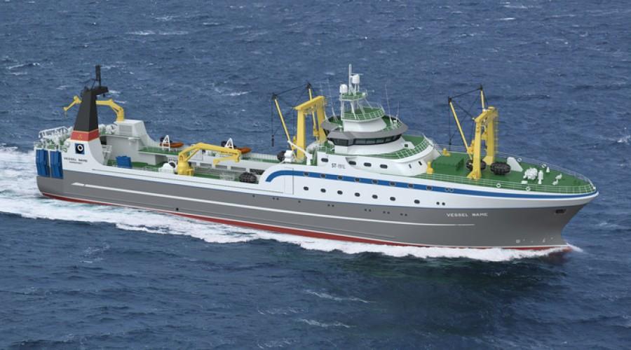 Med en lengde på 108 meter blir det nye fabrikkskipet til Okeanrybflot blant verdens største. Illustrasjon: Skipsteknisk