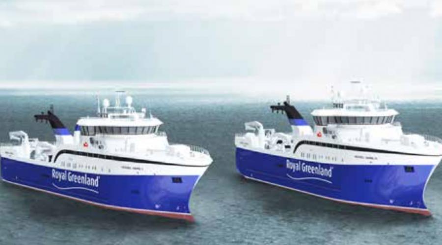 Skipsteknisk designer ny tråler til Royal Greenland, med betegnelsen ST 119. Illustrasjon: Skipsteknisk