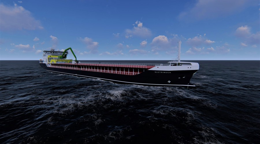 Berge Rederi har nye Sletringen under bygging med levering i 2021 og har nå bestilt nok et skip av samme type. Illustrasjon: MDC