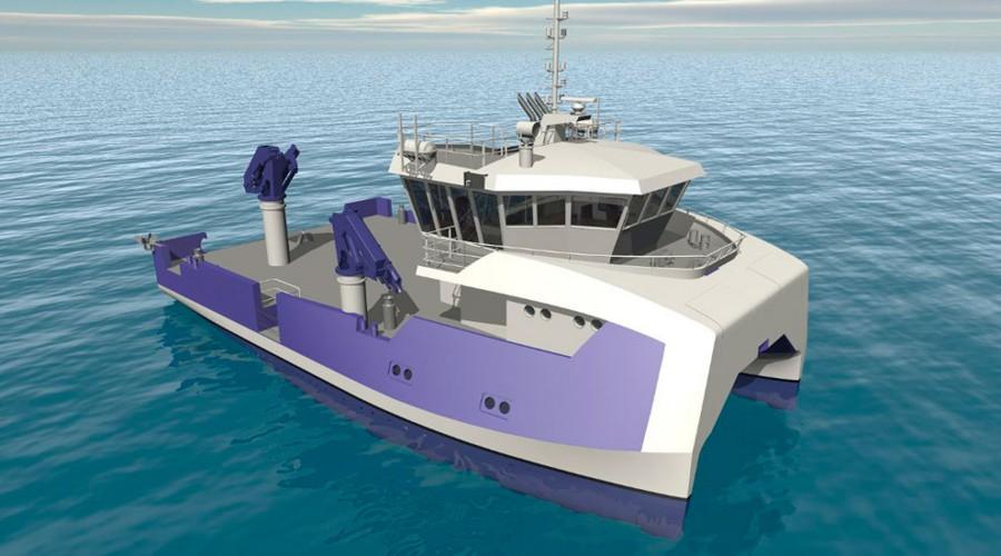 Illustrasjon av de nye fartøyene som Sletta Verft har fått kontrakt på. Illustrasjon: Møre Maritime