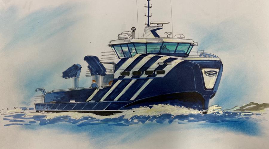 Sletta Verft skal bygge et hybrid servicefartøy for Håløy Havservice. Design/illustrasjon: Møre Maritime