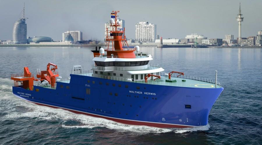 Skiptsteknisk designer det nye forskningsskipet Walter Herwig. Design er av type ST-369L. Illustrasjon: Skipsteknisk