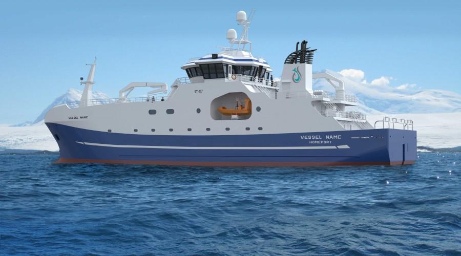 Australian Longline har bestilt autolinebåt med Skipsteknisk-design av type ST-156 L. Illustrasjon: Skipsteknisk
