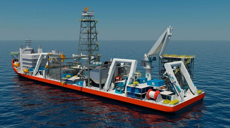 Marine Assets Corporation i Dubai skal ha verdens første støttefartøy for gruvedrift.