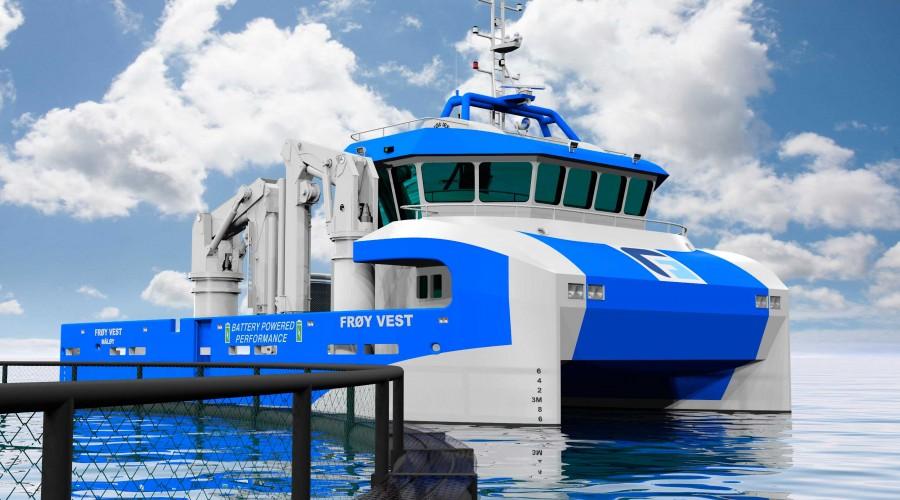 Sletta Verft skal bygge Frøy Vest Rederi sin nye arbeidsbåt. Illustrasjon: Tomra Engineering