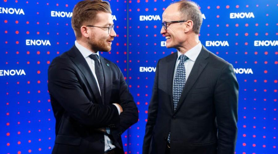Klima- og miljøminister Sveinung Rotevatn og Enovas administrerende direktør Nils Kristian Nakstad på Enovakonferansen i Trondheim i januar. Foto: Enova
