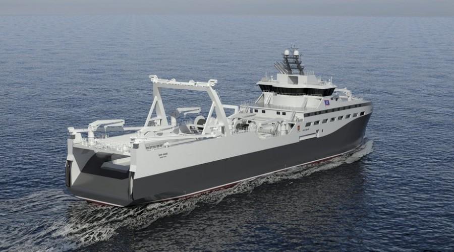 Bilde Krilltråleren som bygger for rederiet rimfrost skal bi «verdens grønneste». Illustrasjon: Kongsberg Marine.