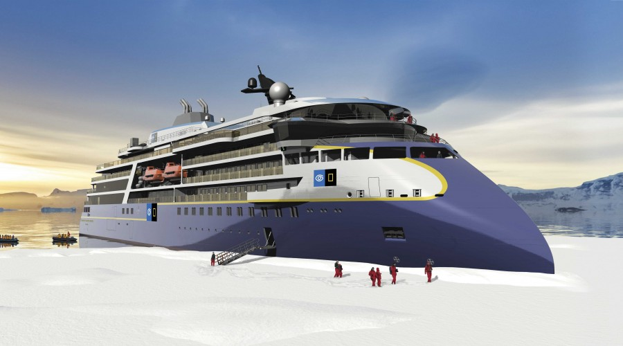 ABB leverer kraft, elektrisk fremdrift og automatisering til Lindblads nyeste luksuscruiseskip for arktiske strøk Illustrasjon: Ulstein Verft/Lindblad Expeditions Holdings Inc.