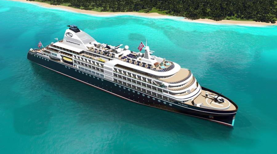 Slik blir det nye luksusskipet som SeaDream nå skal bygge hos Damen. Illustrasjon: SeaDream