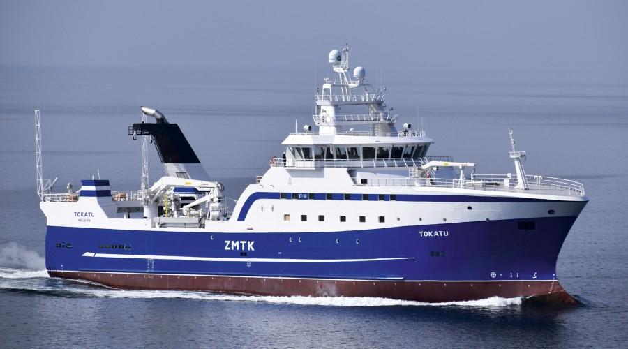 Tokatu ble siste fartøy ut fra Simek. Tråleren ble levert til Sealord Group Ltd. Nelson på New Zealand i april. Foto: Simek